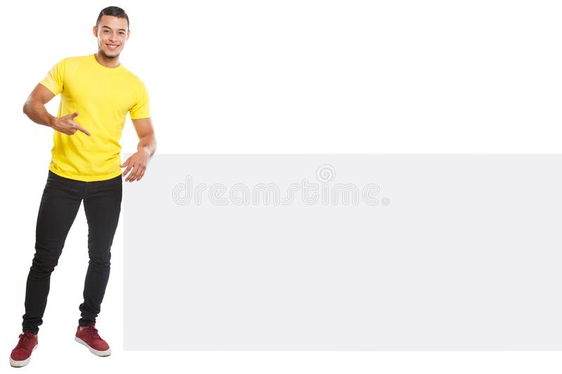 Young latin man showing pointing copyspace marketing ad advert empty blank sign isolated on white. Young latin man showing pointing copyspace marketing ad advert royalty free stock images