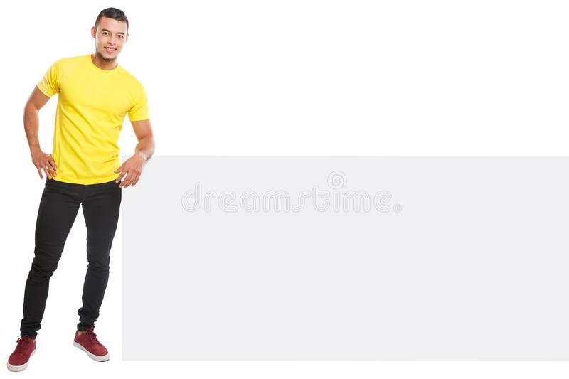Young latin man smiling copyspace marketing ad advert empty blank sign isolated on white. Young latin man smiling copyspace marketing ad advert empty blank sign stock photography