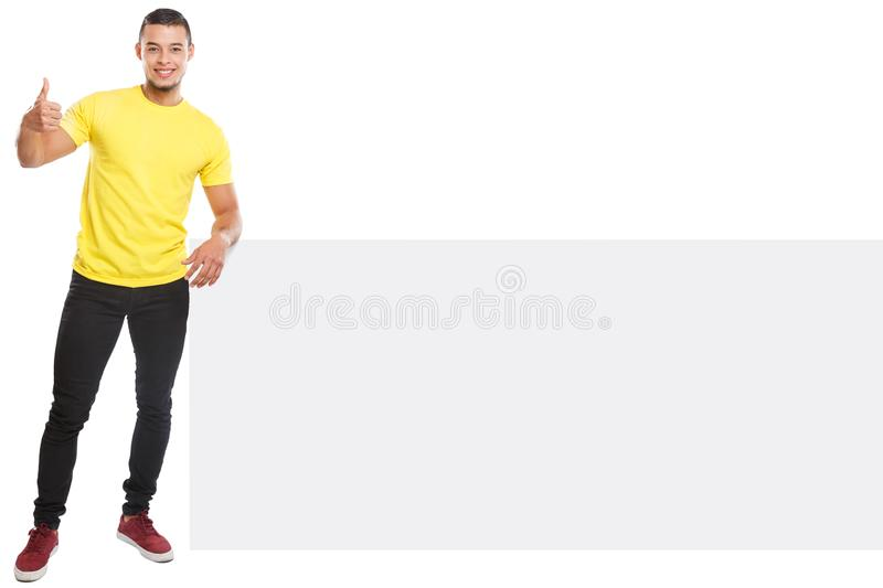 Young latin man success successful copyspace marketing ad advert empty blank sign isolated on white. Young latin man success successful copyspace marketing ad royalty free stock image