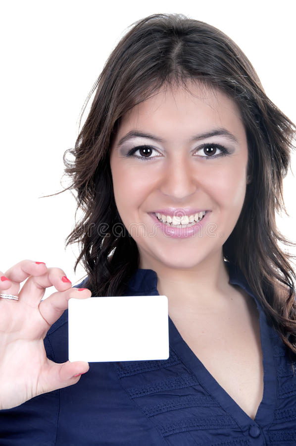 Young Latina With Credit Card Stock Photo