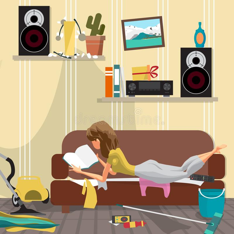 Young lazy woman is lying on the couch and reading a book. Lazy. Wife and mess in the room. Flat cartoon vector illustration royalty free illustration