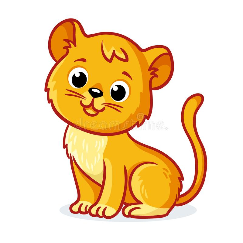 Young lion cub sits on a white background. Cute animal in cartoon style stock illustration