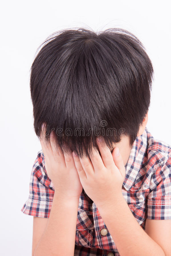 Young little boy crying or playing stock images