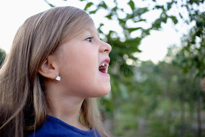 Young little girl without a front tooth. In the countryside stock photos