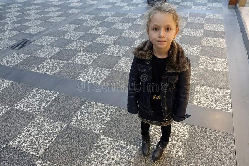 Young little girl posing in autumn royalty free stock images