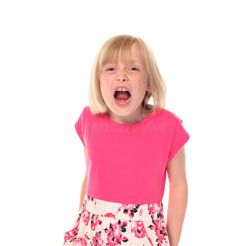 Download Young little girl shouting stock image. Image of blond - 14210297
