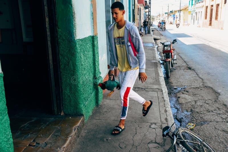 A local carries a chicken in Trinidad, Cuba. A young local carries a chicken in Trinidad, Cuba stock photo