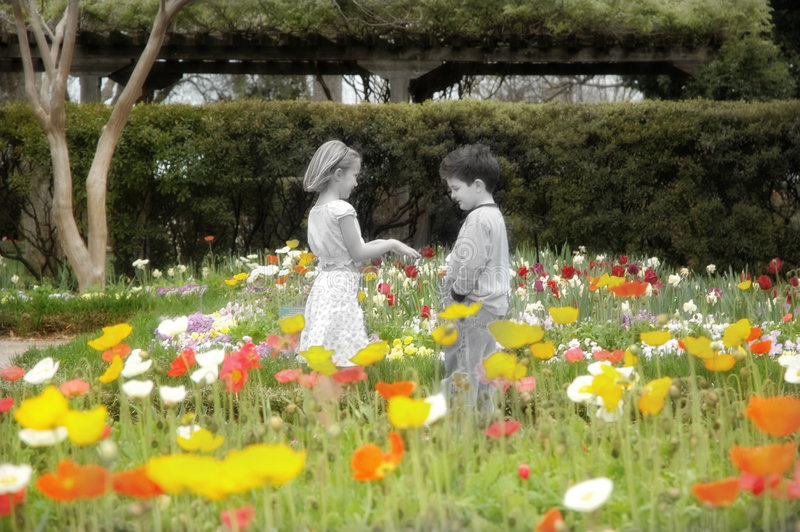 Young Love. Remember when love was just holding hands? Or writing a note that said do you like me circle yes or no? This image is the Garden of youth when times