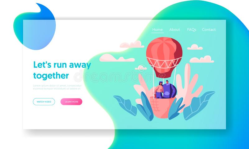 Young Love Couple Fly Air Balloon in Sky Landing Page. Man Woman Enjoy Romantic Together. Happy Lovers Spend Leisure Time vector illustration