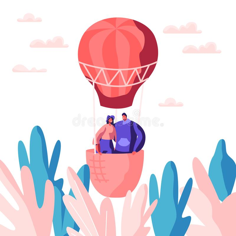 Young Love Couple Fly Air Balloon in Sky. Man Woman Enjoy Romantic Together. Happy Lovers Spend Leisure Time in Open Air vector illustration