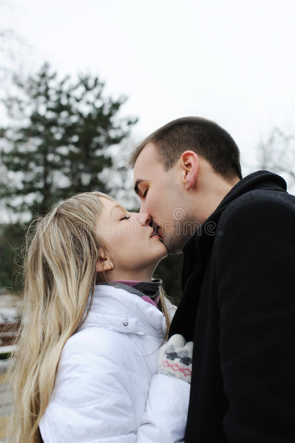 Young Love Couple Kissing Each Other Royalty Free Stock Image