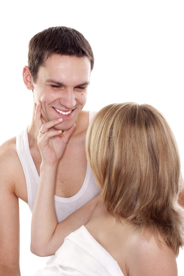 Young love couple smiling stock images