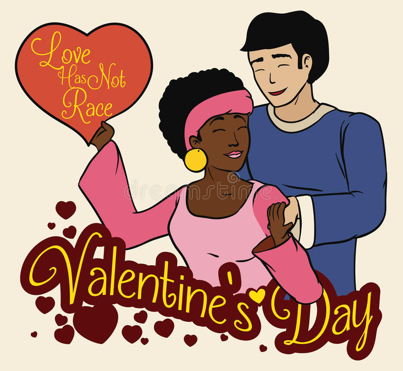 Young In-love Multiracial Couple, Vector Illustration royalty free stock image