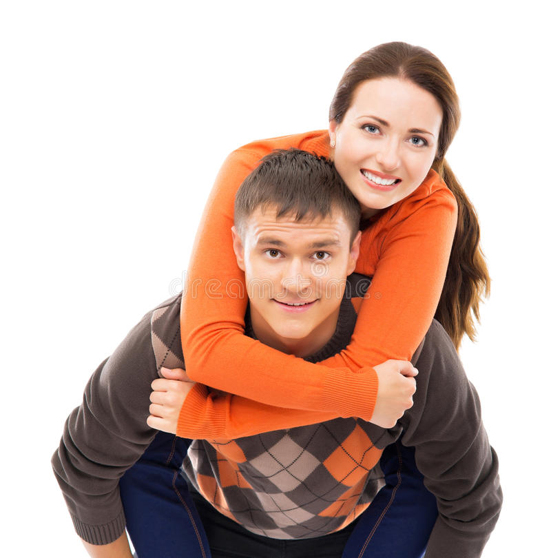 Young and lovely Caucasian couple isolated on white stock photos
