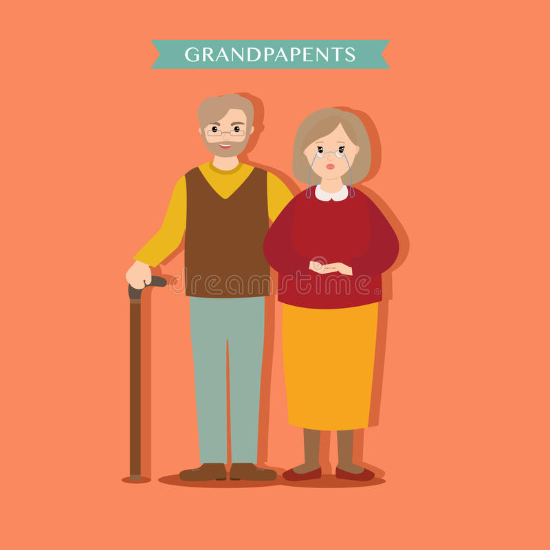 Young lovely grandparents on an orange background. Family grandma and grandpa vector illustration for design vector illustration