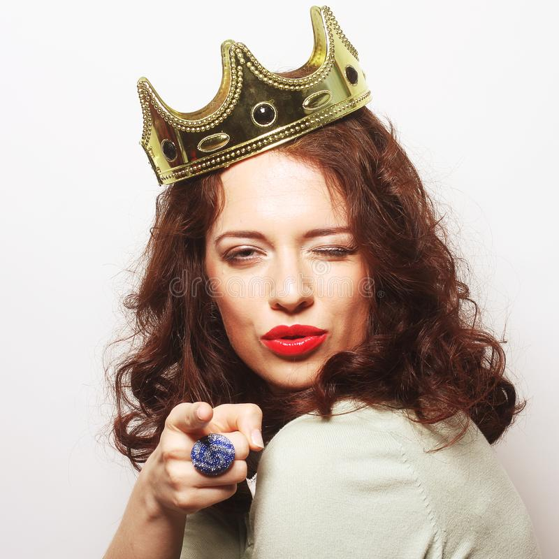 Woman in crown. Young lovely woman in crown stock photography