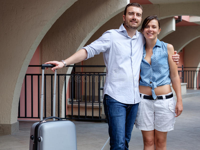 Young lovers couple on vacation stock images