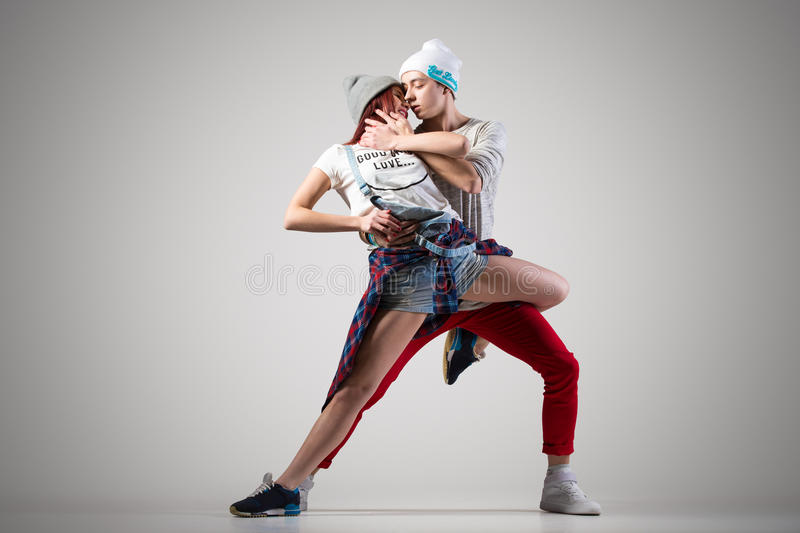 Young lovers dance stock photos