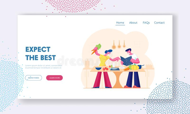 Young Loving Couple Cooking Together on Kitchen Website Landing Page. Family Prepare Dinner with Fresh Products. On Table. Love, Romantic Evening Meal Web Page stock illustration