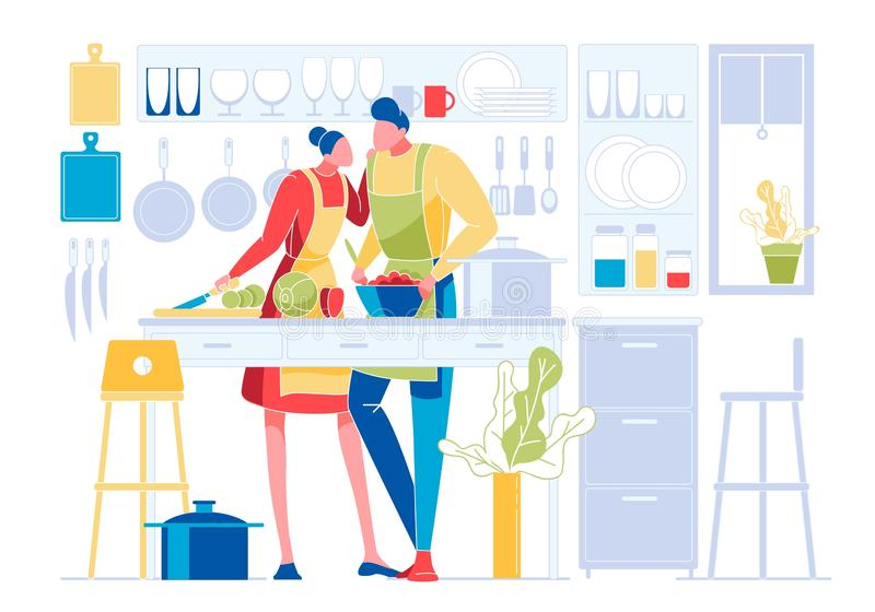 Young Loving Couple Cooking Together on Kitchen. Family Prepare Dinner with Fresh Products on Table. Every Day Routine, Love, Human Relations, Romantic Evening royalty free illustration