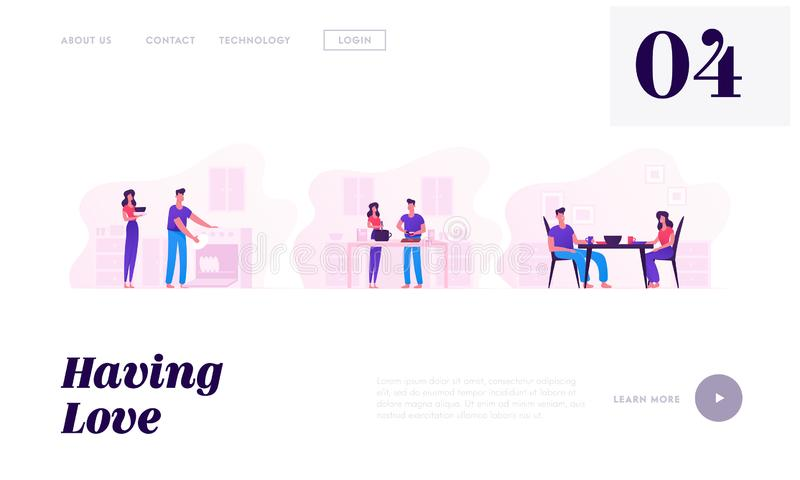 Young Loving Couple Cooking Together Website Landing Page. Family Prepare Food, Having Meal and Washing Dishes. Every Day Routine stock illustration