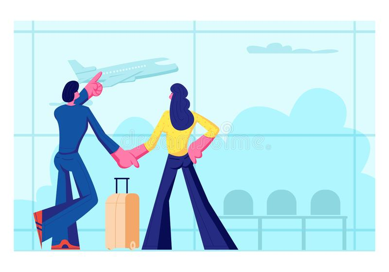 Young Loving Couple Going for Leisure. Man and Woman Stand in Airport Terminal Waiting Flight Watching Flying Airplane vector illustration