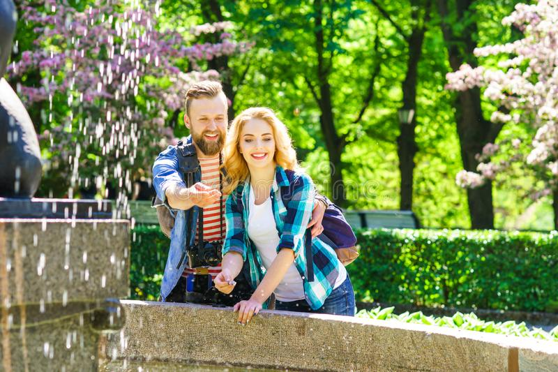 Young loving couple having date in the city. stock image
