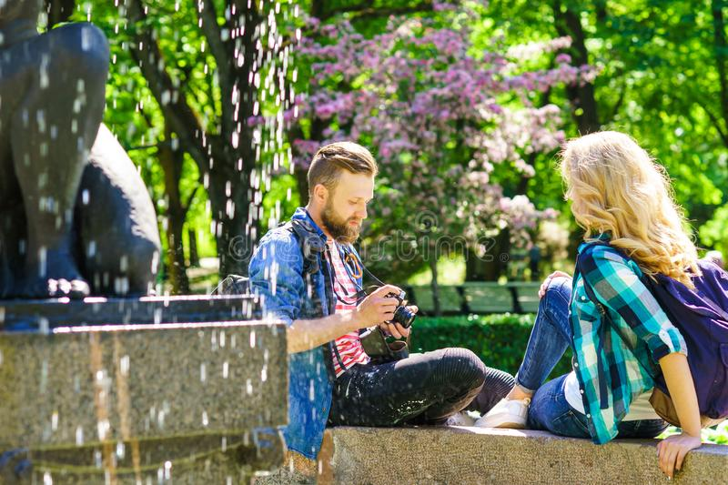Young loving couple having date in the city. stock photo