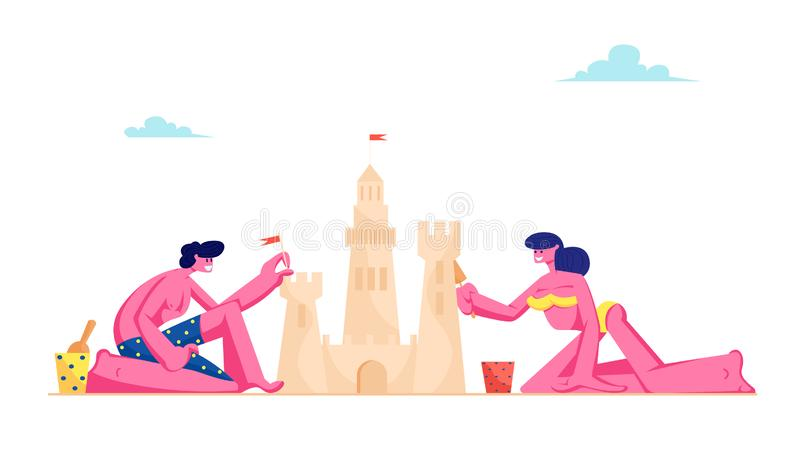 Young Loving Couple Having Leisure on Sandy Beach Building Sand Castle at Tropical Island Seaside. Man and Woman in Swimsuits royalty free illustration