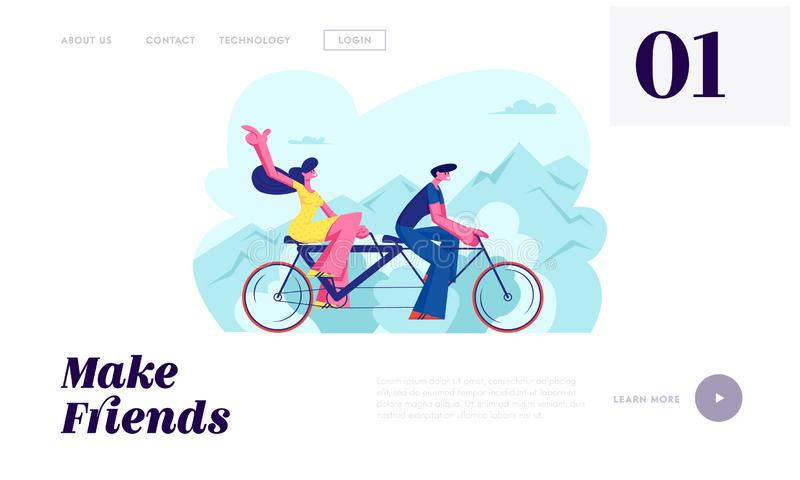 Young Loving Couple Ride Tandem Bicycle. Summer Time Vacation Sparetime, Leisure, Romantic Voyage. Love Relations. Bike Cycling vector illustration