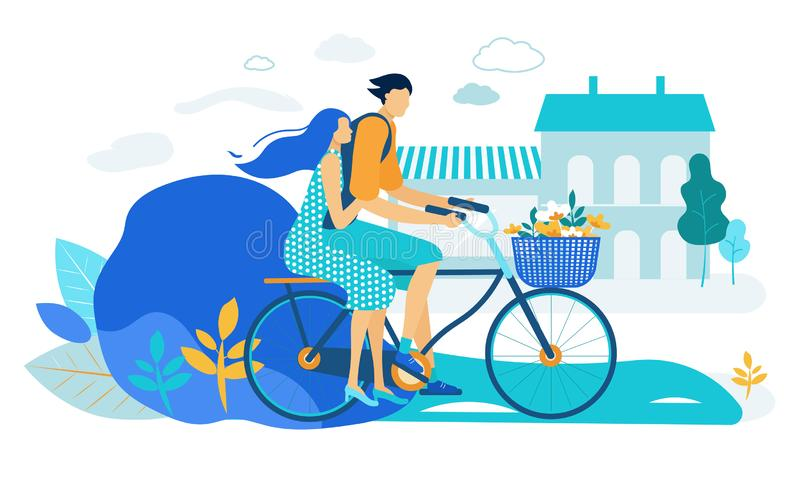 Young Loving Couple Riding Bicycle Together. Love. Young Loving Couple Riding Bicycle Together. Summer Time Vacation Sparetime, Leisure, Romantic Voyage. Love vector illustration