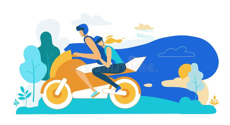 Young Loving Couple Riding Motorbike on Nature. Landscape Background. Girl Hugging Man. Summer Time Vacation Sparetime, Leisure, Romantic Journey. Love, Human royalty free illustration