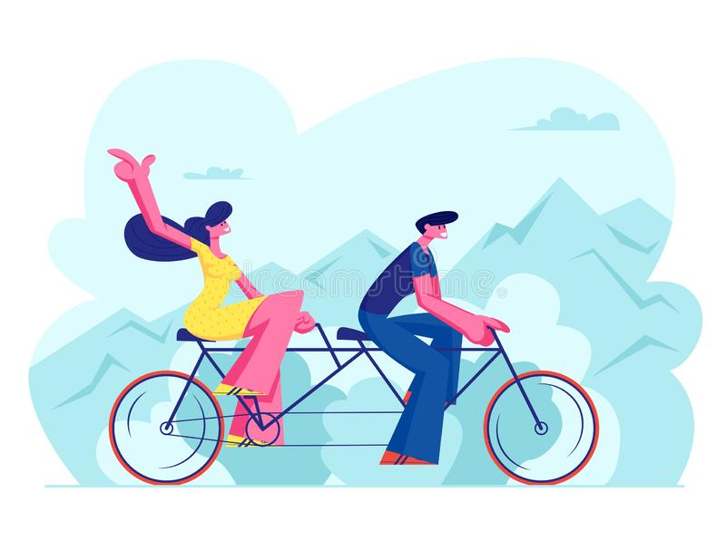 Young Loving Couple Riding Tandem Bicycle Together. Summer Time Vacation Sparetime, Leisure, Romantic Voyage royalty free illustration