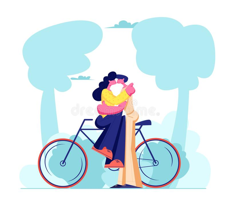 Young Loving Couple Sitting on Bicycle and Kissing Outdoors. Romantic Human Relations, Love Story, Newlywed Family in Honeymoon vector illustration