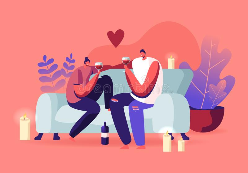 Young Loving Couple Spend Time at Home Sitting on Couch Together Chatting, Drinking Wine with Burning Candles stock illustration