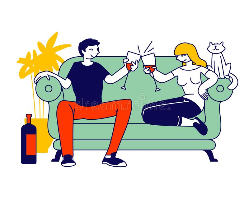 Young Loving Couple Spend Time at Home Sitting on Couch Together Chatting, Drinking Wine with Cat Sitting near royalty-vrije illustratie