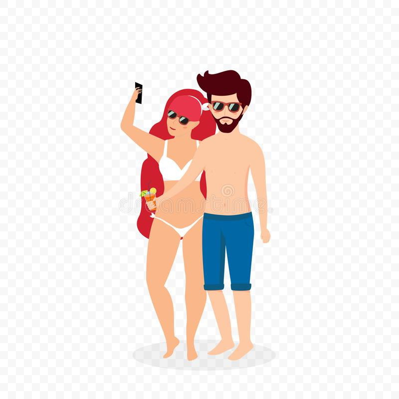 Young Loving Couple in Swimsuits Making Selfie royalty free illustration