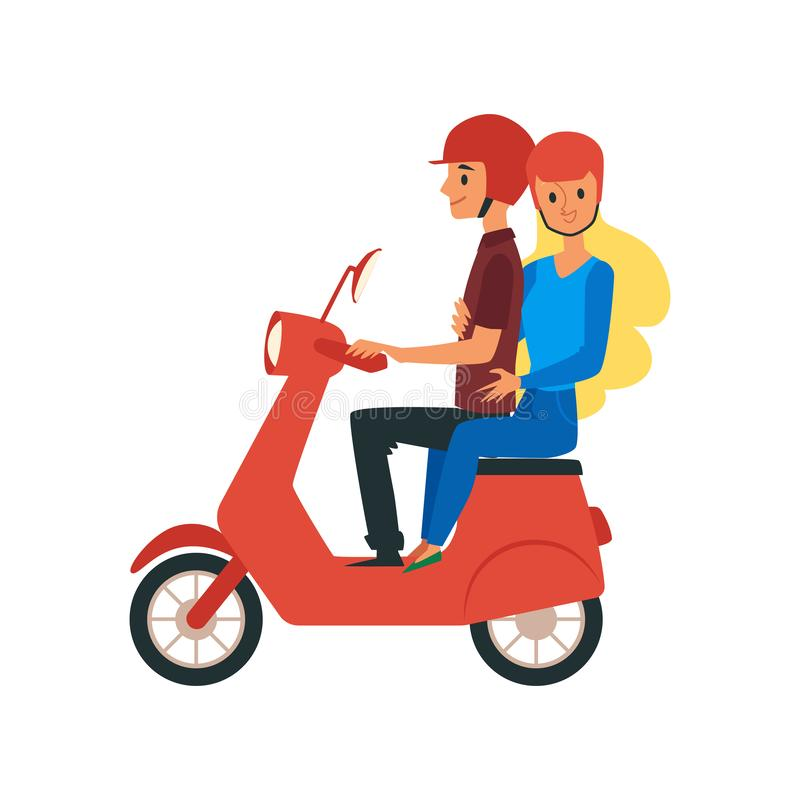 Young loving couple traveling riding on bike Flat vector illustration isolated. stock illustration