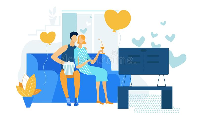Young Loving Couple Watching TV with Popcorn, Love stock illustration
