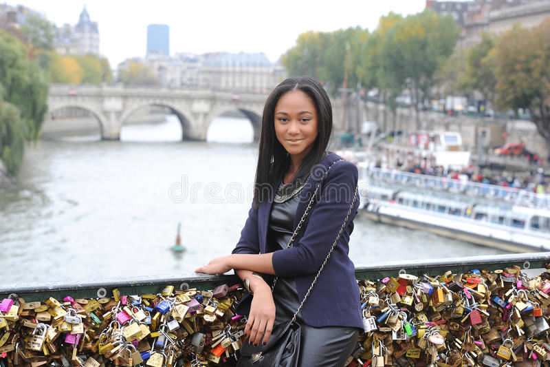 Young métis woman. In Paris royalty free stock images