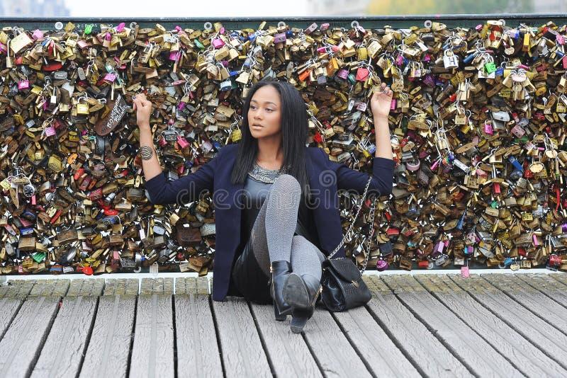 Young métis woman. In Paris royalty free stock photography