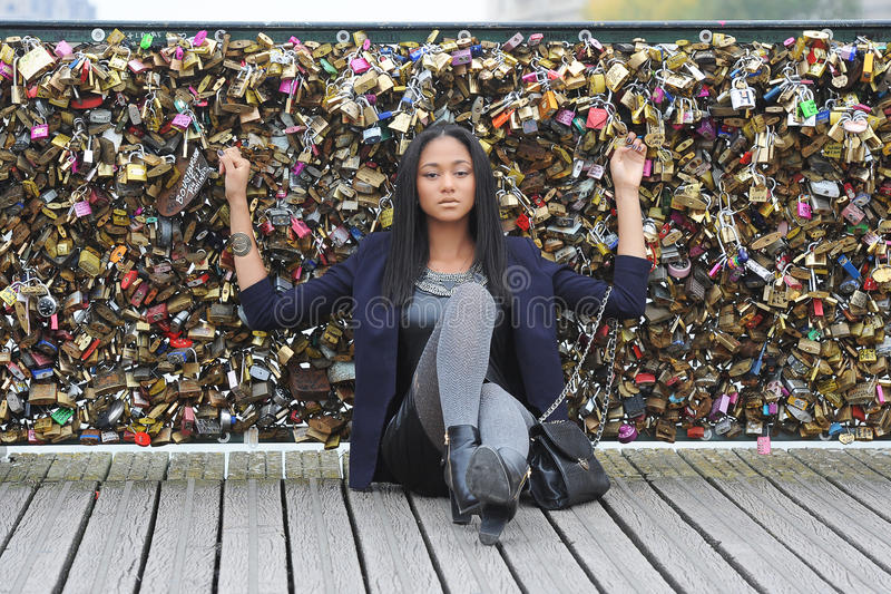 Young métis woman. In Paris stock photo