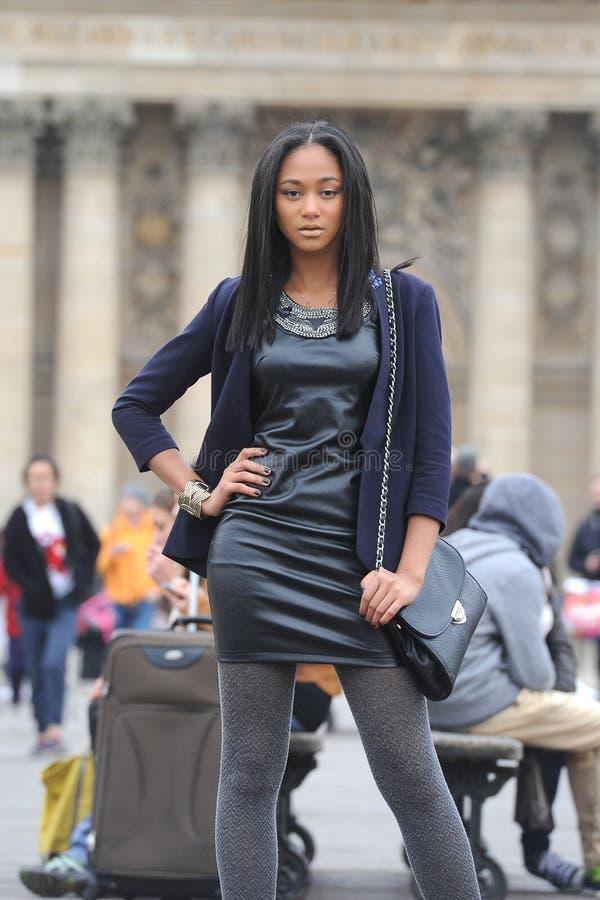 Young métis woman. In Paris royalty free stock photo