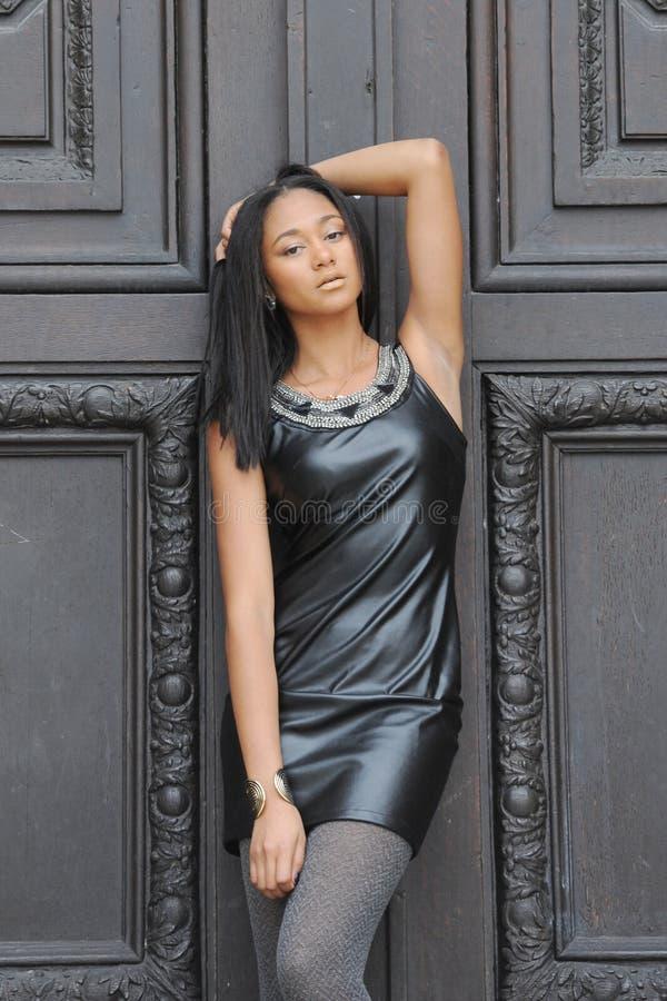 Young métis woman. In Paris stock images