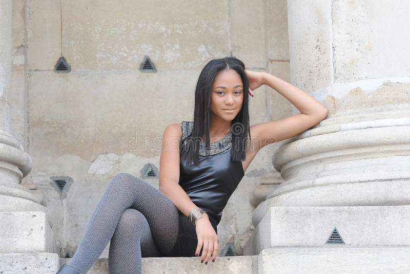Young métis woman. In Paris royalty free stock image