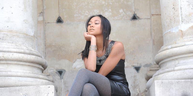 Young métis woman. In Paris stock photography