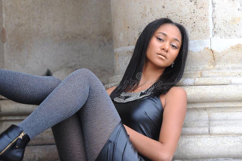 Young métis woman. In Paris stock photos