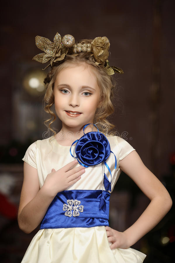 Young magic fairy with gold flowers stock photography