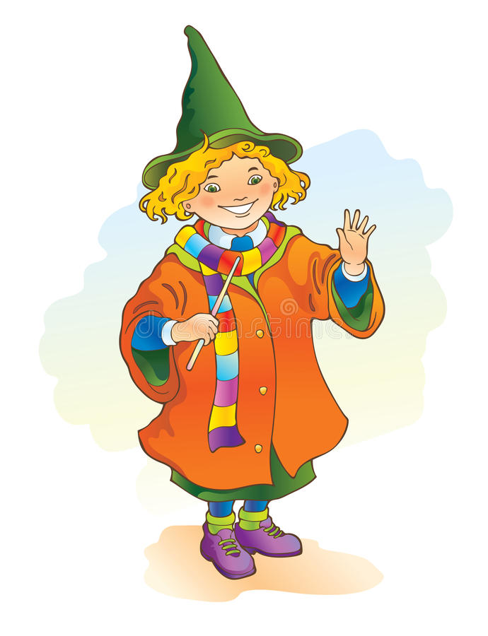Young magician holding a magic wand royalty free stock photo