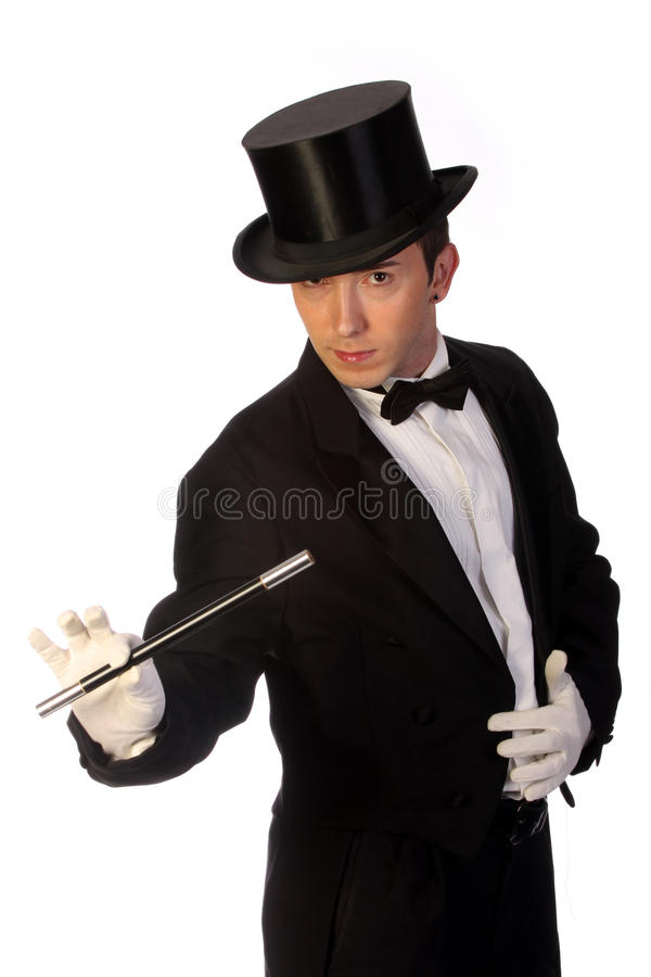 Download Young Magician Performing With Wand Stock Image - Image: 9869513